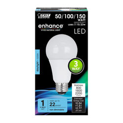 Feit Electric  Enhance  A21  E26 (Medium)  LED Bulb  Daylight  50/100/150 Watt Equivalence 1 pk