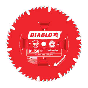 Freud  Diablo  10 in. Dia. x 5/8 in.  x 0.098 in.  Carbide Tip  Diablo  Combination Saw Blade  50 te