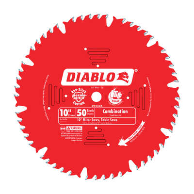 Diablo  10 in. Dia. x 5/8 in.  Carbide Tip  Combination Saw Blade  50 teeth 1 pk