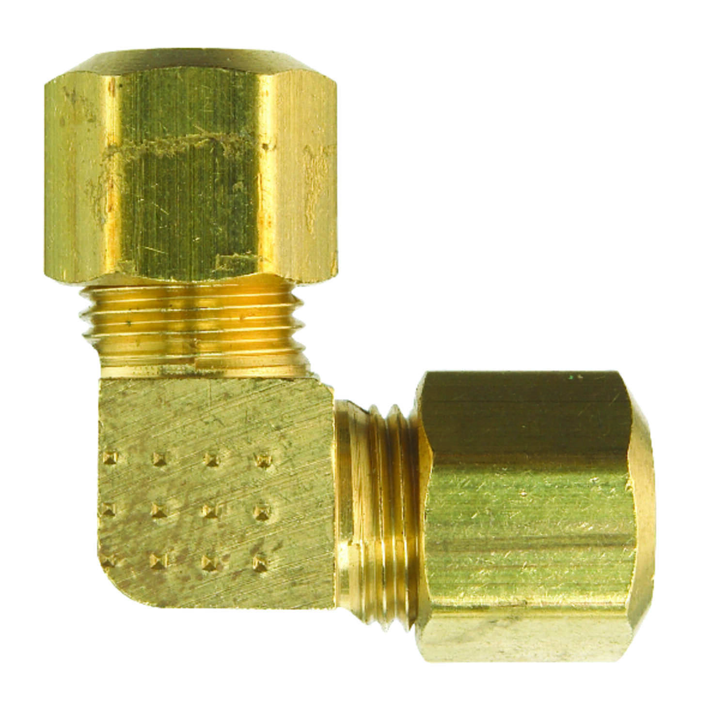 JMF  1/4 in. Dia. x 1/4 in. Dia. Compression To Compression To Compression  90 deg. Yellow Brass  El