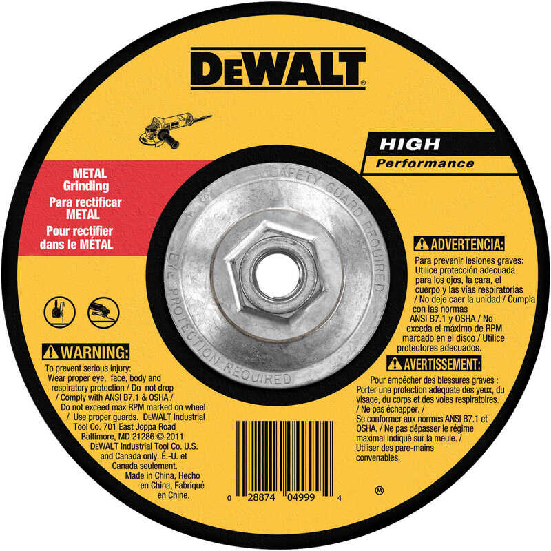 DeWalt  High Performance  7 in. Dia. x 1/4 in. thick  x 5/8 in.   Metal Grinding Wheel  1 pc.