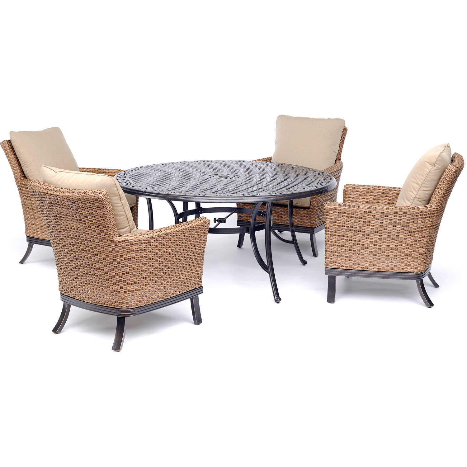 Hanover  Traditions  5 pc. Bronze  Aluminum  Dining Patio Set  Tan