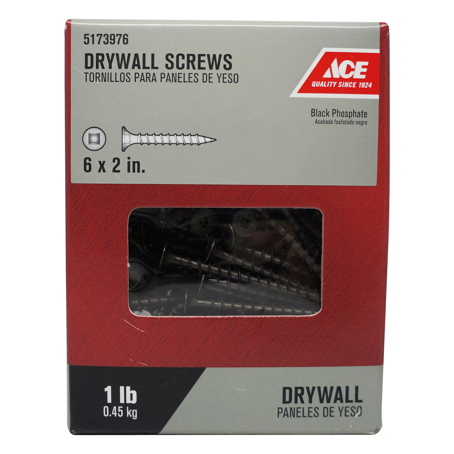 Ace  No. 6   x 2 in. L Square  Bugle Head Black Phosphate  Steel  Drywall Screws  1 lb. 192