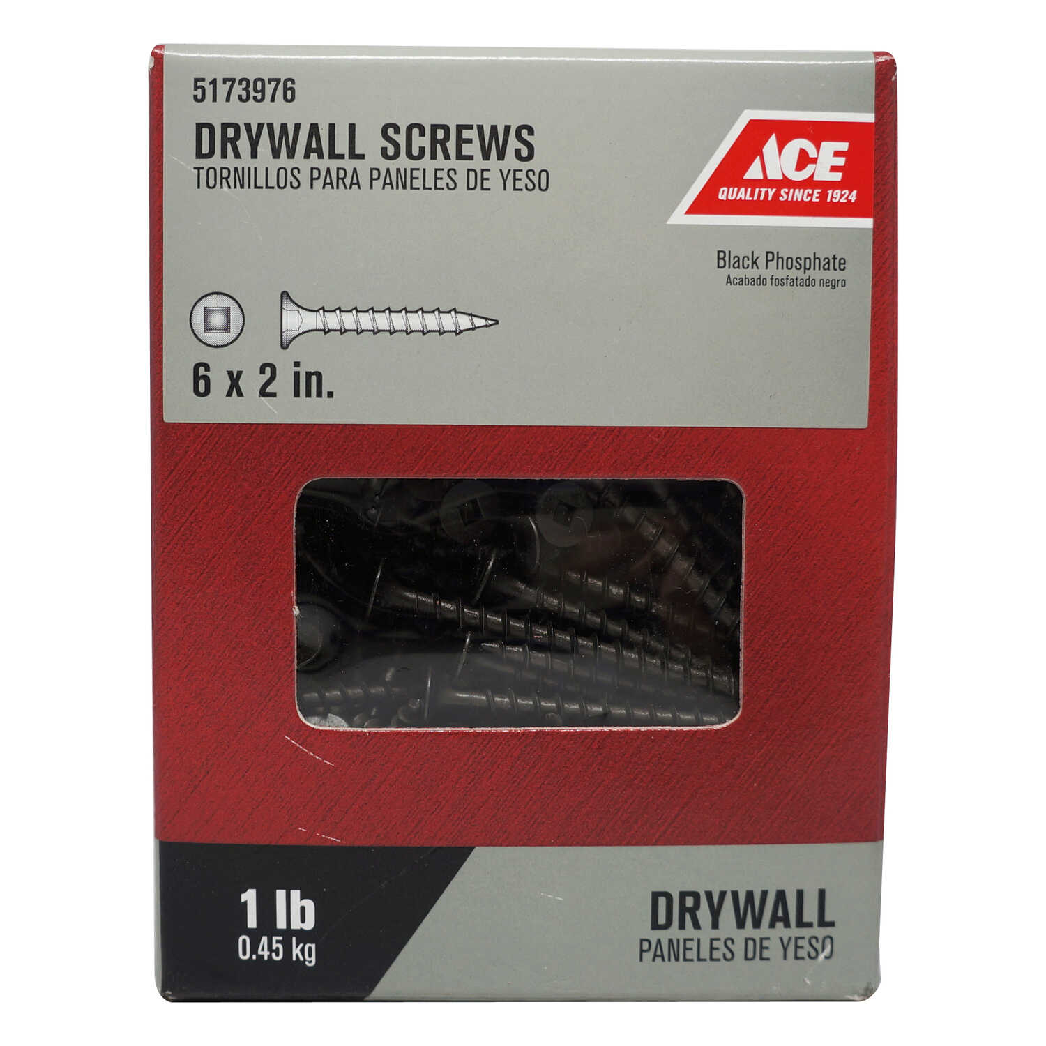 Ace  No. 6   x 2 in. L Square  Bugle Head Black Phosphate  Steel  Drywall Screws  1 lb. 192 pk