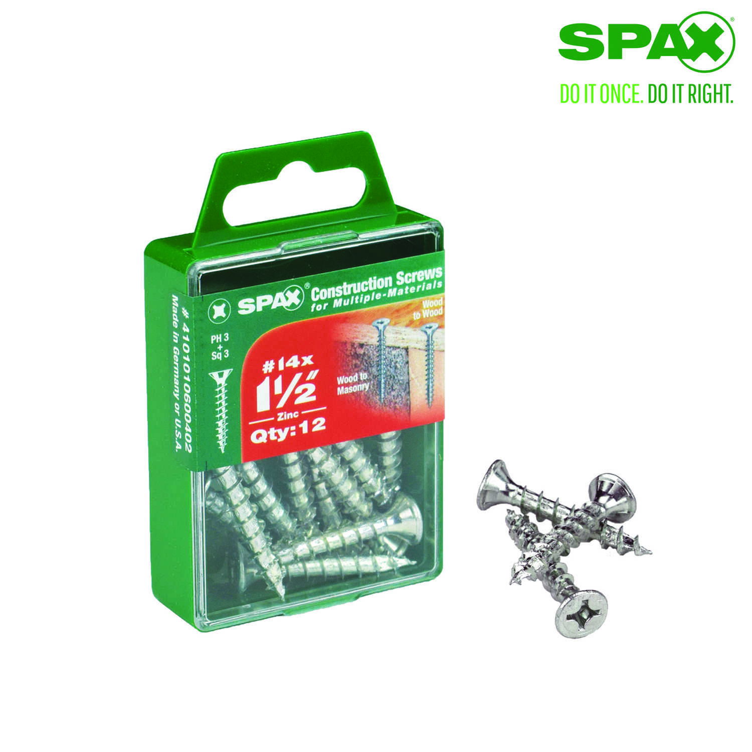 SPAX  No. 14   x 1-1/2 in. L Phillips/Square  Flat  Zinc-Plated  Steel  Multi-Purpose Screw  12 each