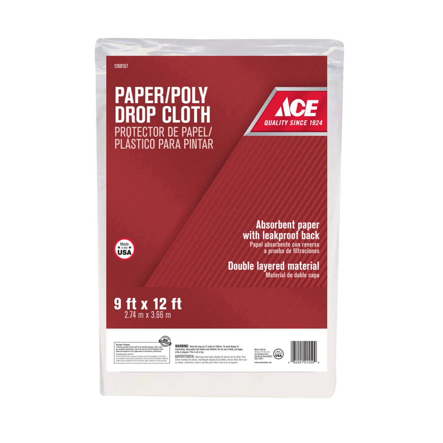ACE  Heavy Weight Grade Paper/Poly  Drop Cloth  12 ft. L x 9 ft. W White