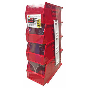 Quantum Storage  5 in. L x 5-1/2 in. W x 11 in. H Stack and Hang Bin  Polypropylene  4 pk Red