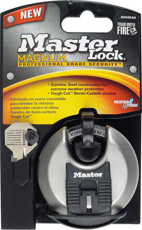 Master Lock  1-1/2 in. H x 1 in. W x 2-3/4 in. L Ball Bearing Locking  Shrouded Shackle Padlock  Ste