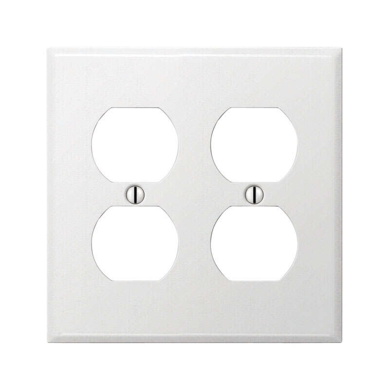 Amerelle  Contractor  White  2 gang Stamped Steel  Duplex Outlet  Wall Plate  1 pk