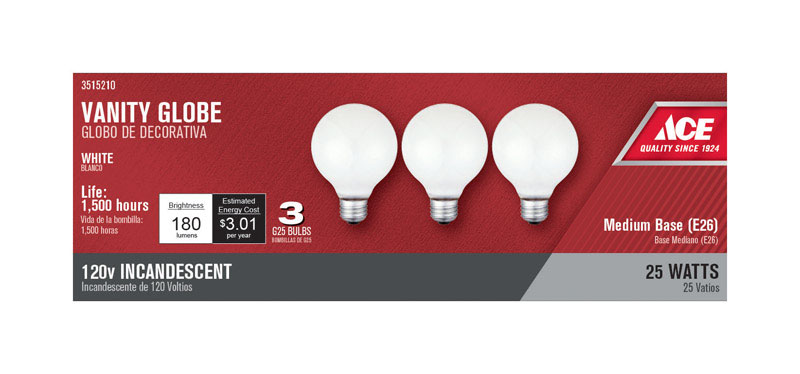 Ace  25 watts G25  Incandescent Light Bulb  180 lumens White  3 pk Globe