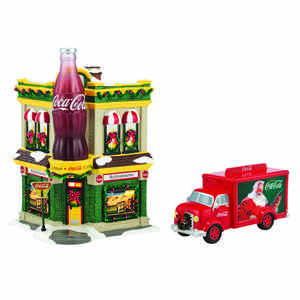 Department 56  Coca Cola Corner Fountain Set  Village Building  Multicolored  Ceramic  1 pk