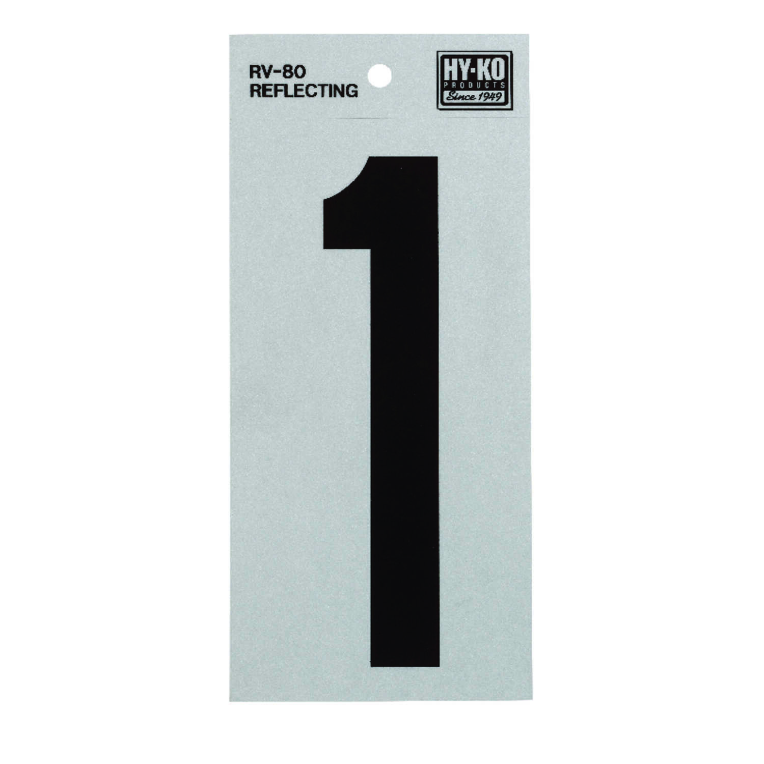 Hy-Ko  6 in. Reflective Black  Vinyl  Number  1  Self-Adhesive