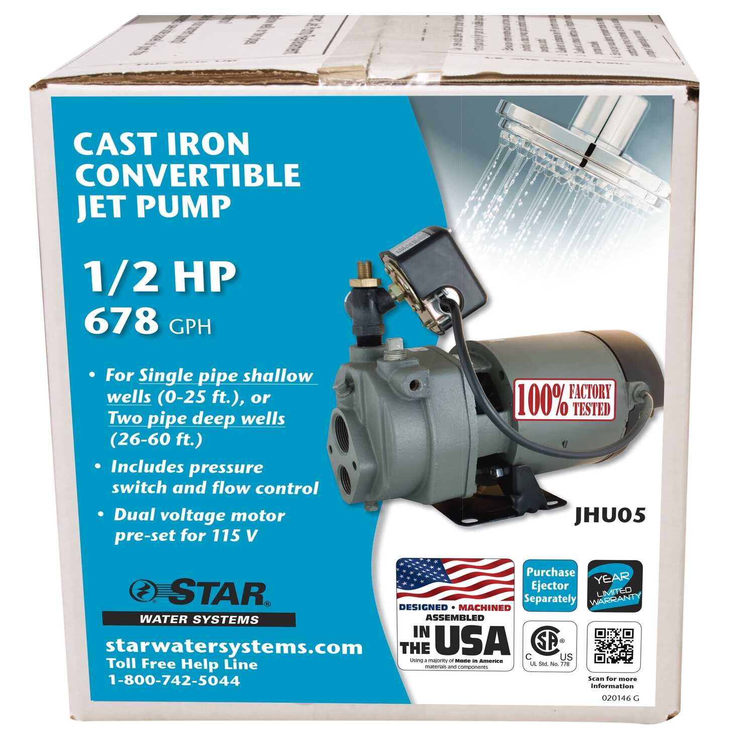 Star Water Systems  1/2 hp 678 GPH  Cast Iron  Convertible Jet Pump