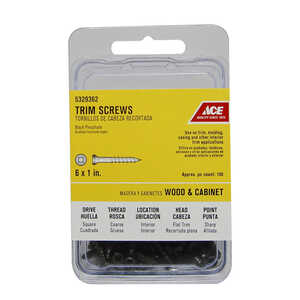 Ace  No. 6   x 1 in. L Square  Trim Head Steel  Trim Screws  100 pk Black Phosphate
