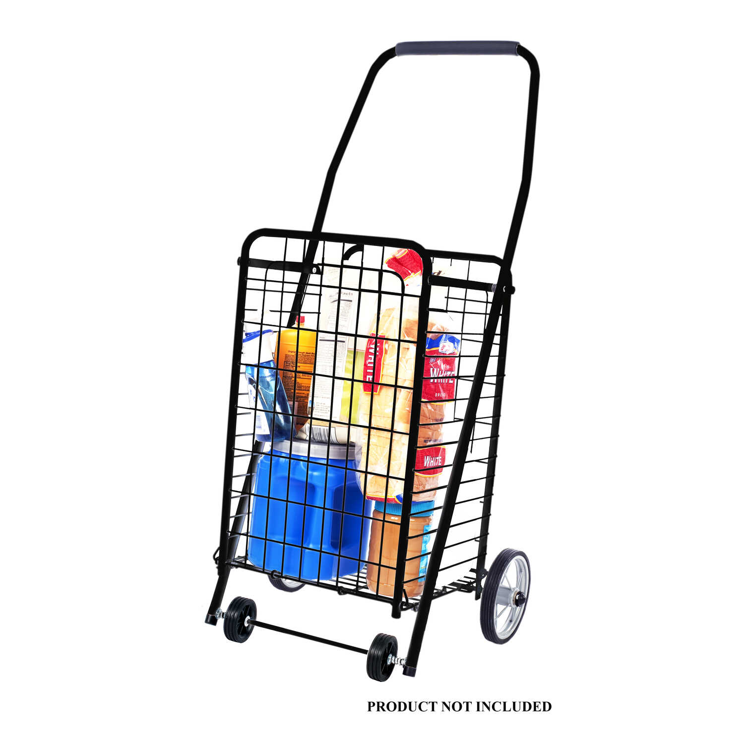 Apex  37 in. H x 12-1/2 in. W x 10-1/2 in. L Collapsible Shopping Cart  Black