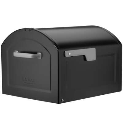 Architectural Mailboxes Centennial Galvanized Steel Post Mount Black Mailbox