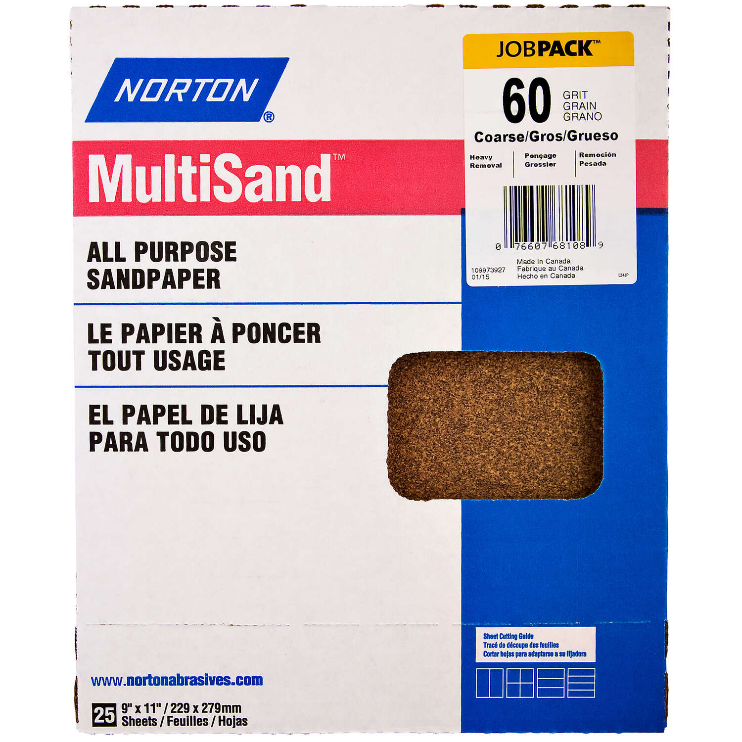 Norton  MultiSand  11 in. L x 9 in. W 60 Grit Aluminum Oxide  All Purpose Sandpaper  25 pk