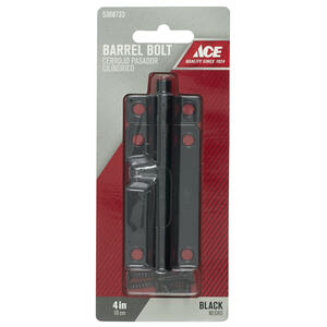Ace  4 in. L Black  Steel  Barrel Bolt  1 pk