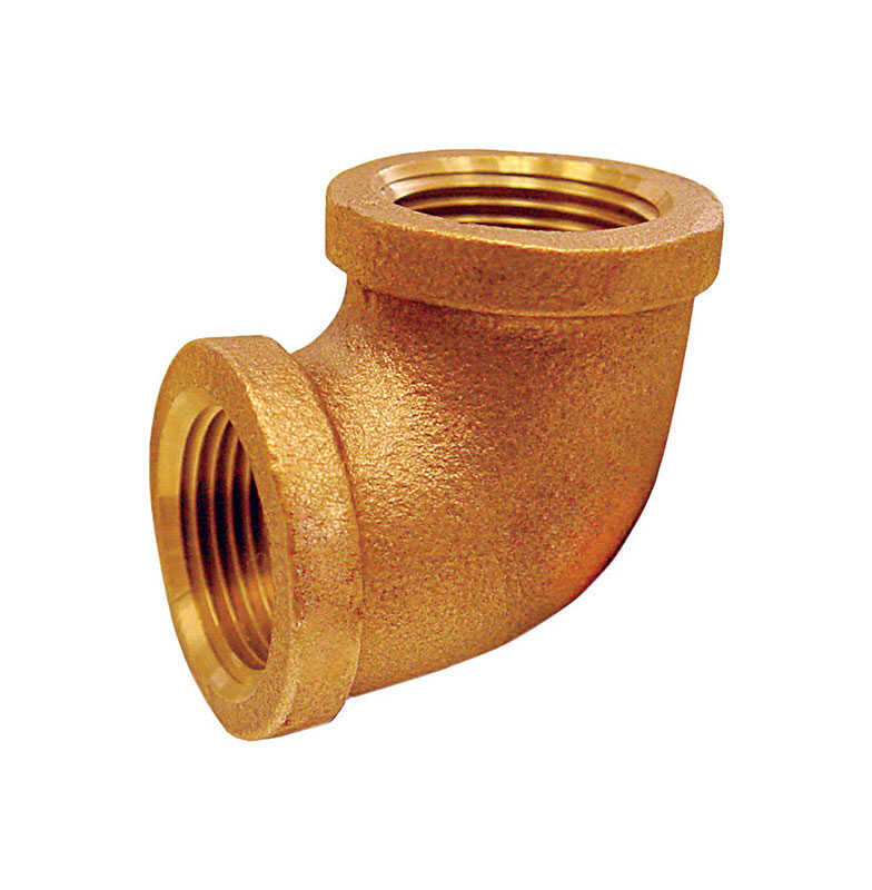 JMF  1/8 in. Dia. x 1/8 in. Dia. FPT To FPT To Threaded  90 deg. Red Brass  Elbow