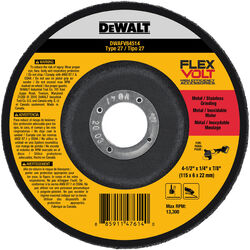 DeWalt  Flexvolt  4-1/2 in. Dia. x 1/4 in. thick  x 7/8 in.   Metal Grinding Wheel  1 pc. Prop 65 Violation