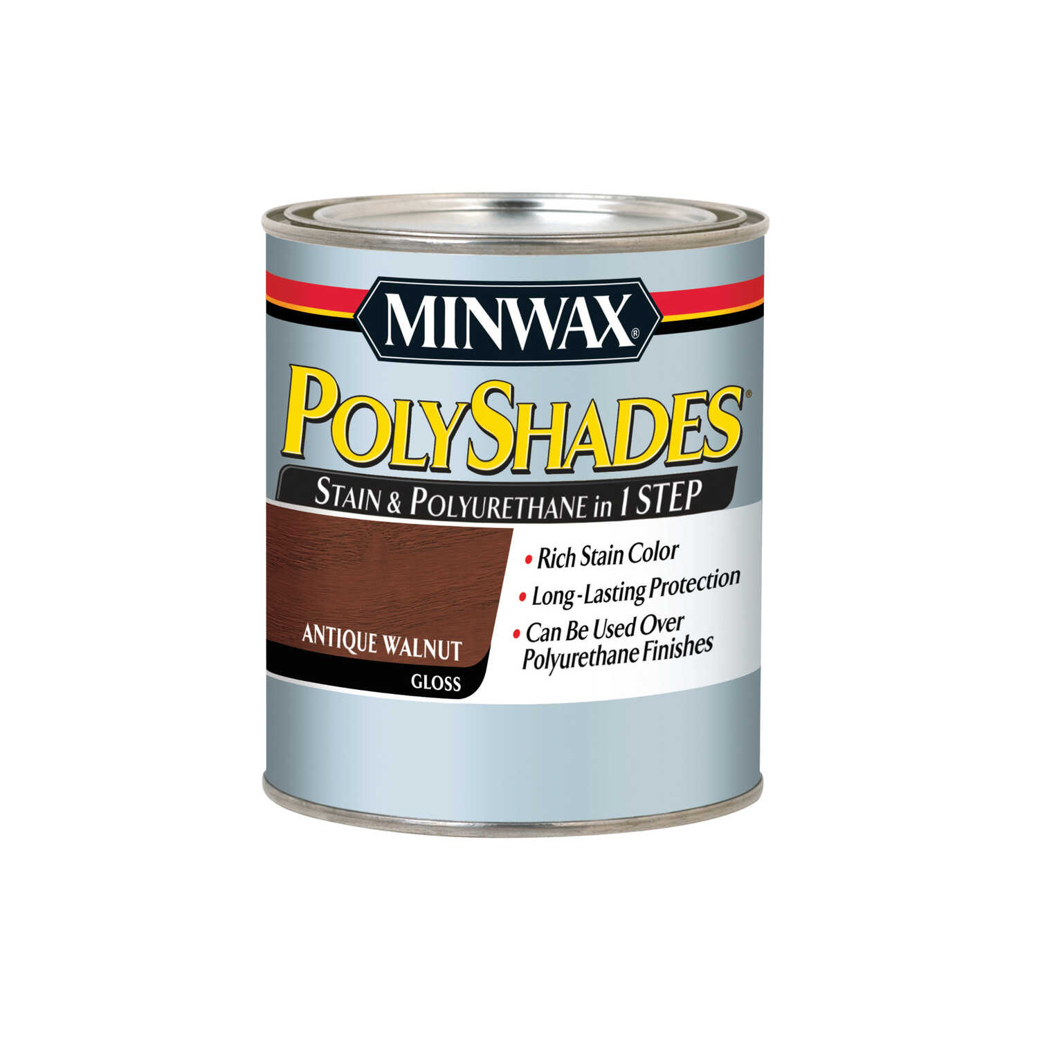 Minwax  PolyShades  Semi-Transparent  Gloss  Antique Walnut  Oil-Based  Stain  1 qt.