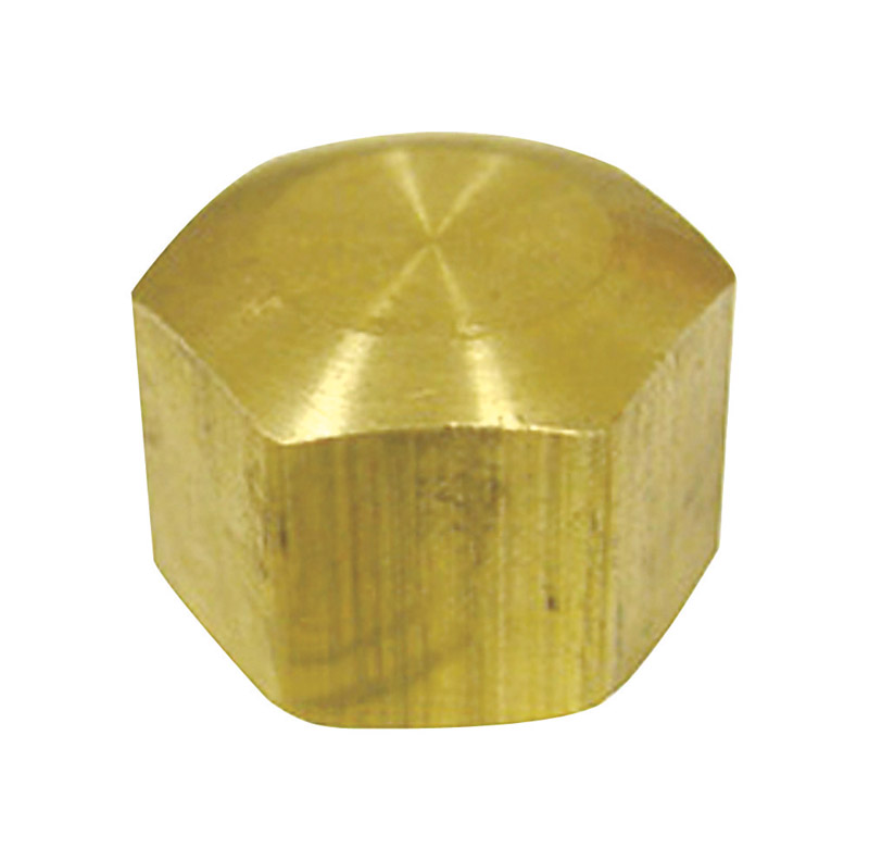 JMF  3/8 in. Dia. Compression To Compression  Yellow Brass  Cap