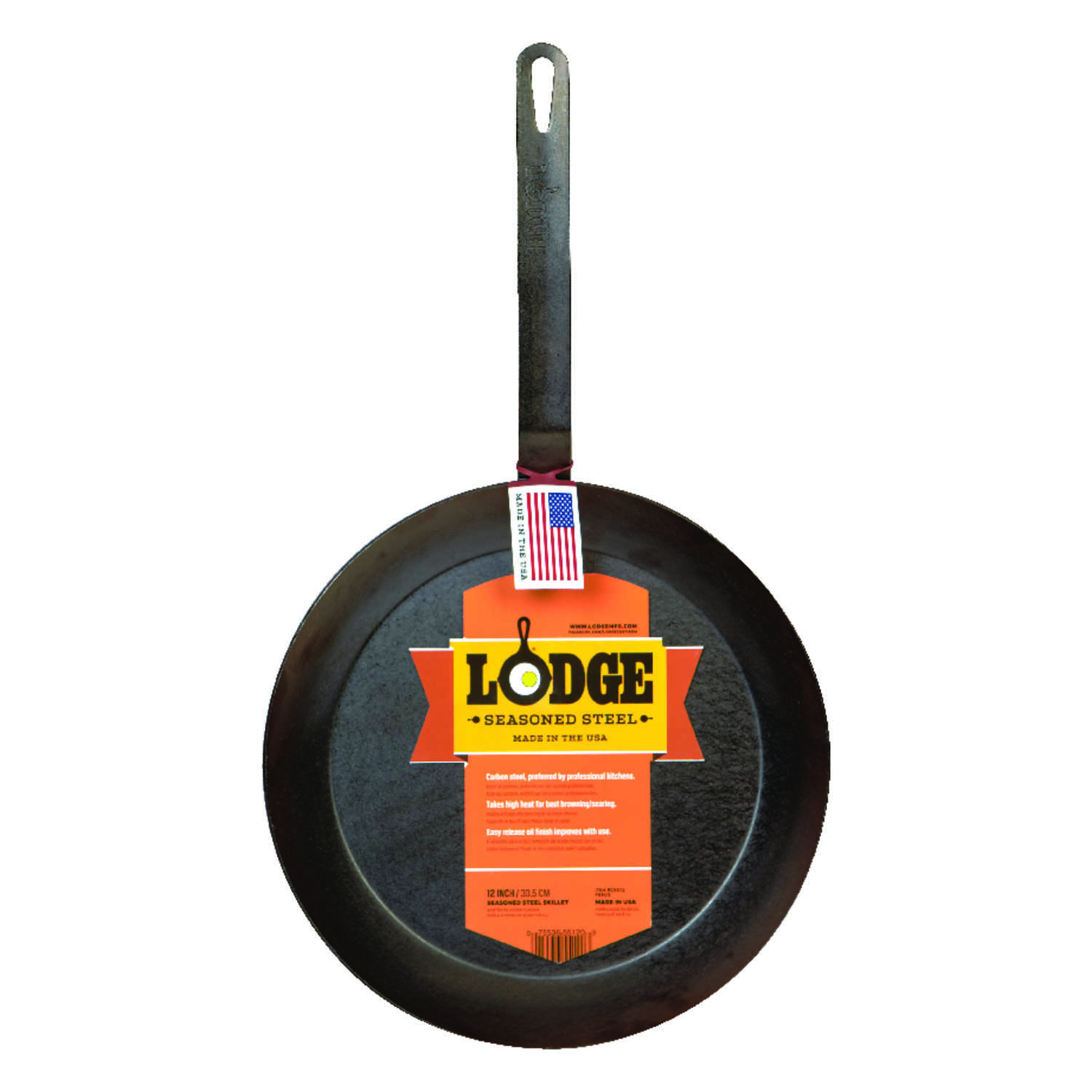 Lodge  Steel  Skillet  12 in. Black