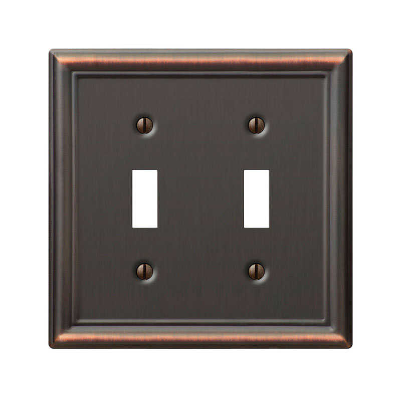 Amerelle  Chelsea  Aged Bronze  2 gang Stamped Steel  Toggle  Wall Plate  1 pk