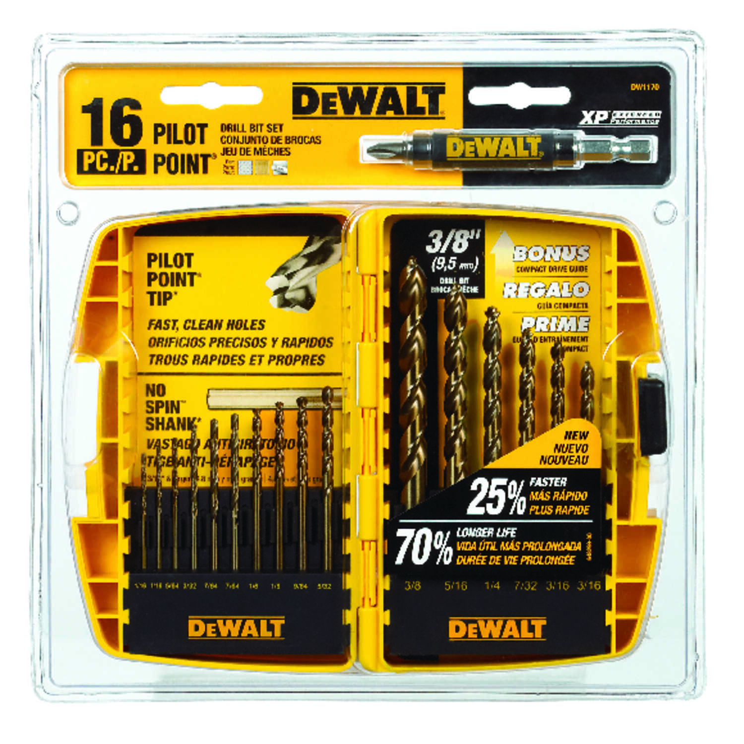 DeWalt  Pilot Point  Multi Size in. Dia. x Multi  L Ferrous Oxide  Drill Bit Set  16 pc. Round Shank