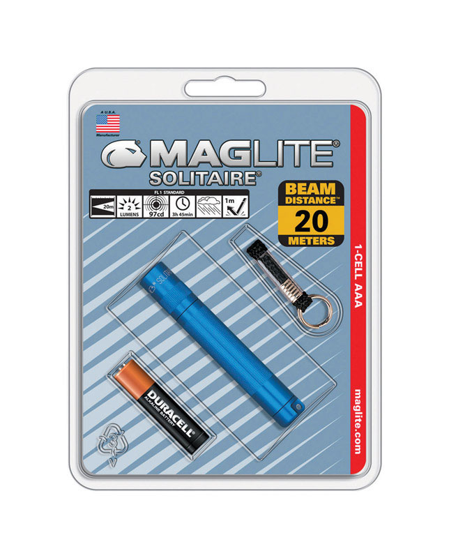 Maglite  Solitaire  2 lumens Blue  Incandescent  Flashlight With Key Ring  AAA