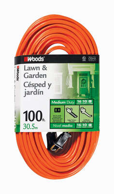 Woods  Outdoor  100 ft. L Orange  Extension Cord  16/2