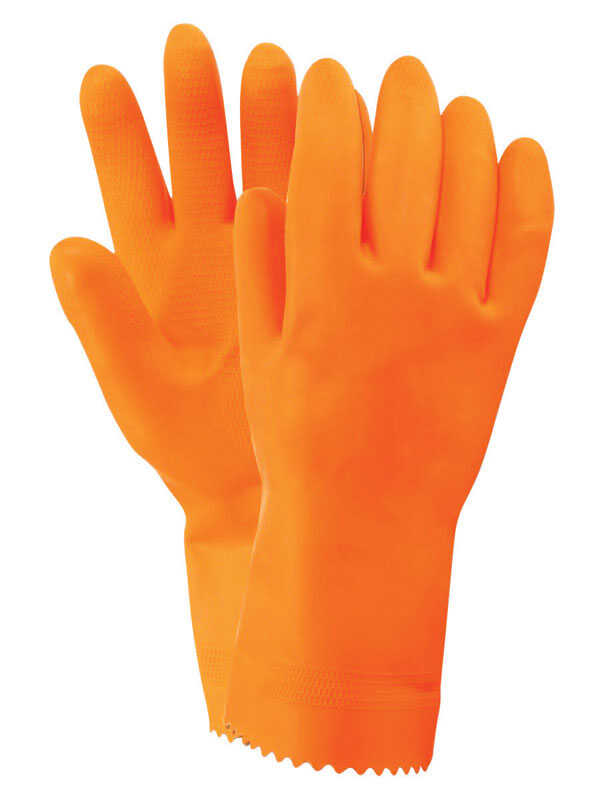 Firm Grip  Unisex  Indoor/Outdoor  Nitrile  Stripping Gloves  Orange  M
