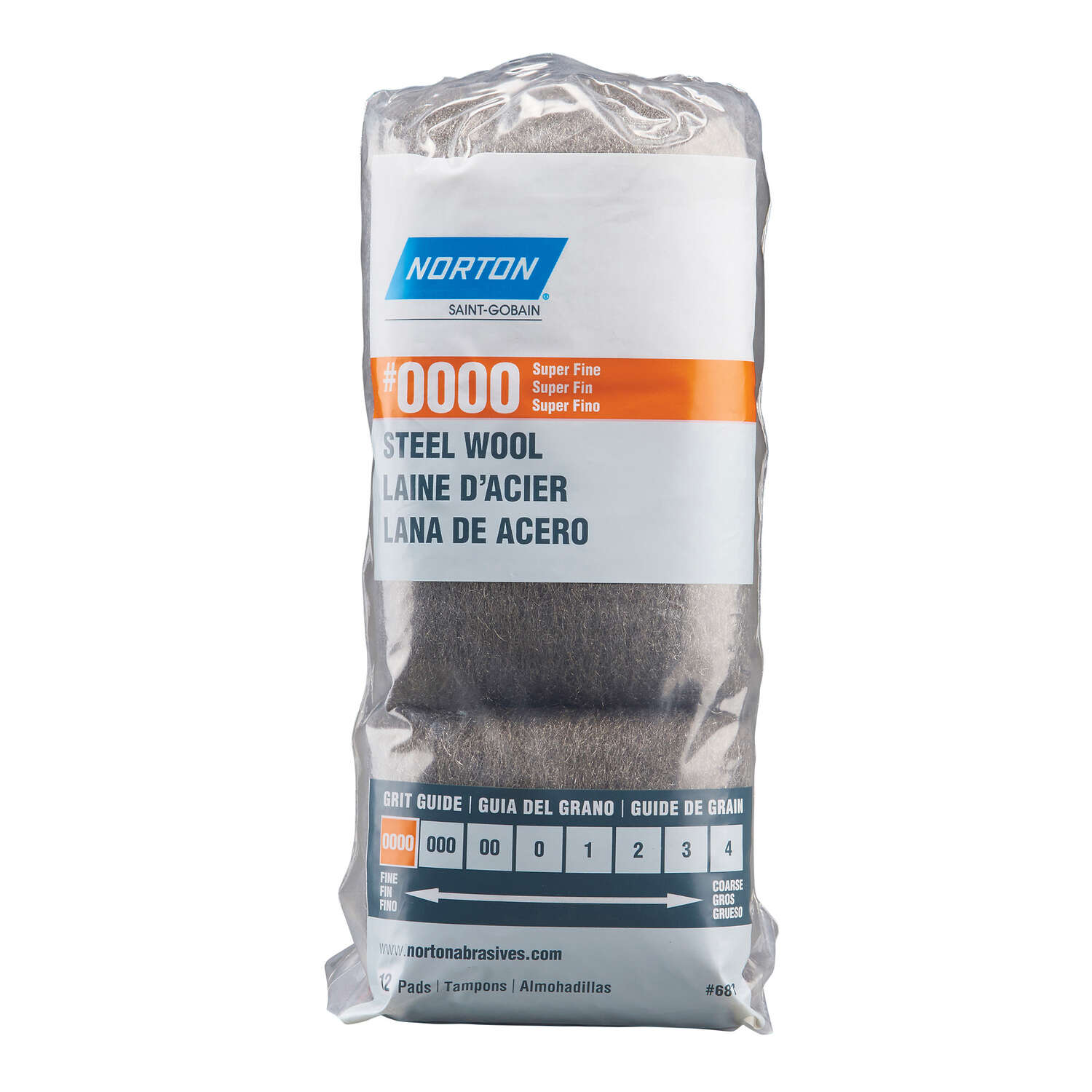 Norton  0000 Grade Super Fine  Steel Wool Pad  12 pk