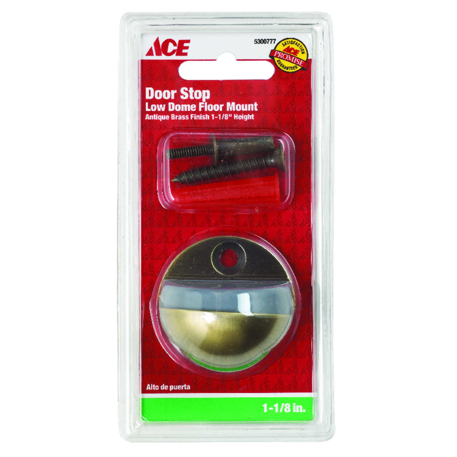 Ace  1-1/8 in. H x 1-3/4 in. W Bronze  Door Stop  Antique  Metal  Mounts to floor