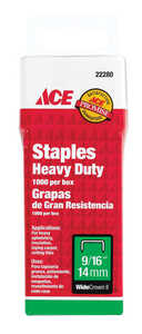 Ace  9/16 in. L Wide Crown  Steel  1000  Heavy Duty Staples