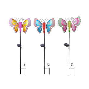 Luminous Garden  Glass/Iron  Multi-color  34.25 in. H Butterfly  Solar Garden Stake
