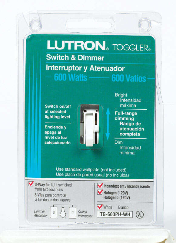 Lutron  Toggler  White  600 watts 3-Way  Dimmer Switch