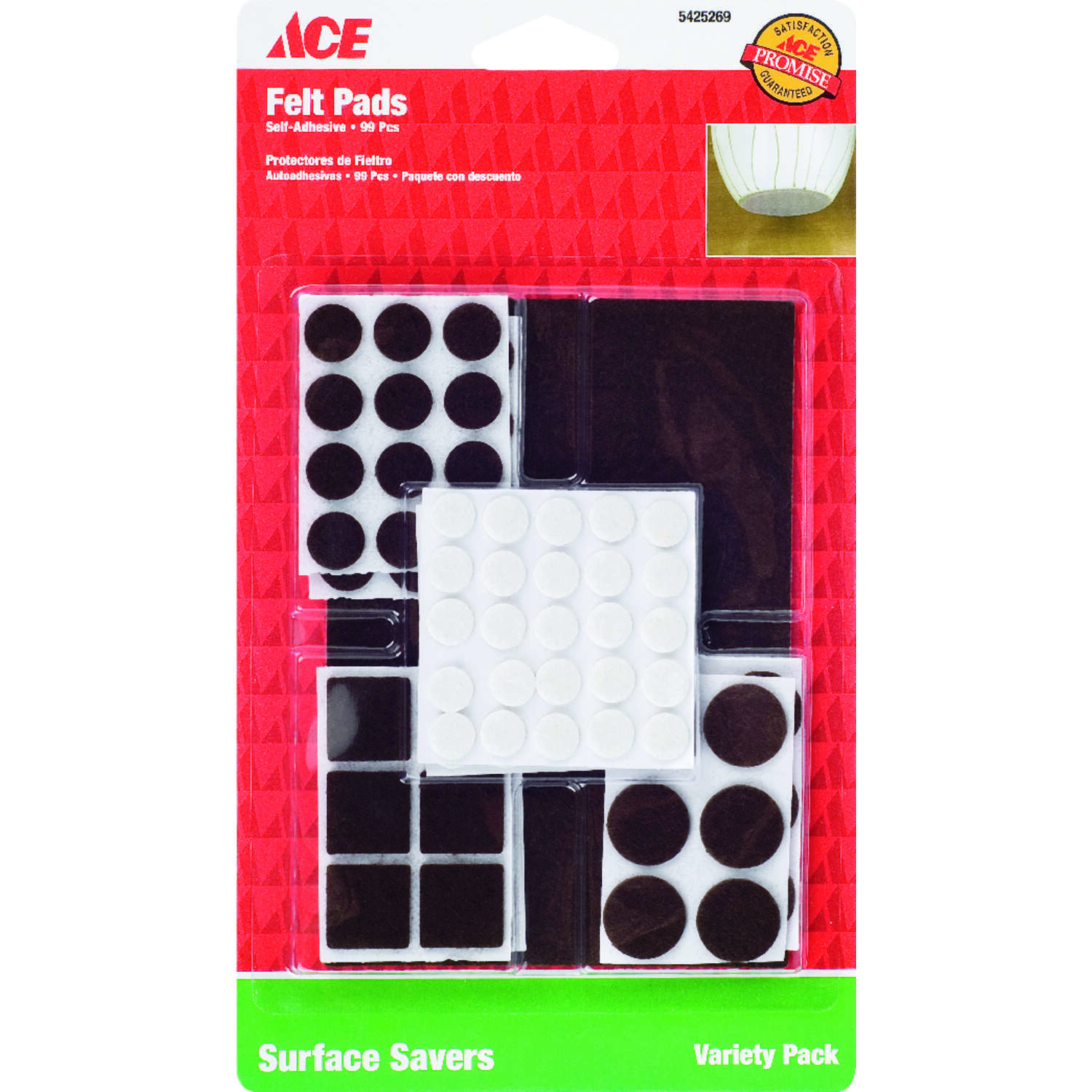 Ace  Felt  Surface Pad  Assorted  99 pk Self Adhesive Brown