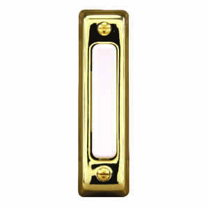 Heath Zenith  Polished Brass  Metal  Wired  Pushbutton Doorbell