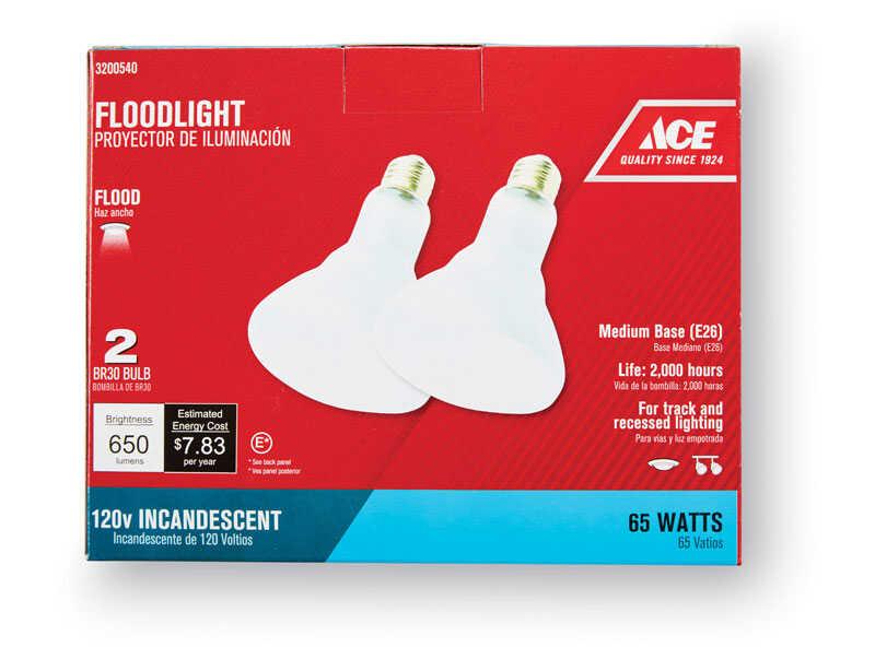 Ace 65 watts BR30 Floodlight Incandescent Light Bulb Medium