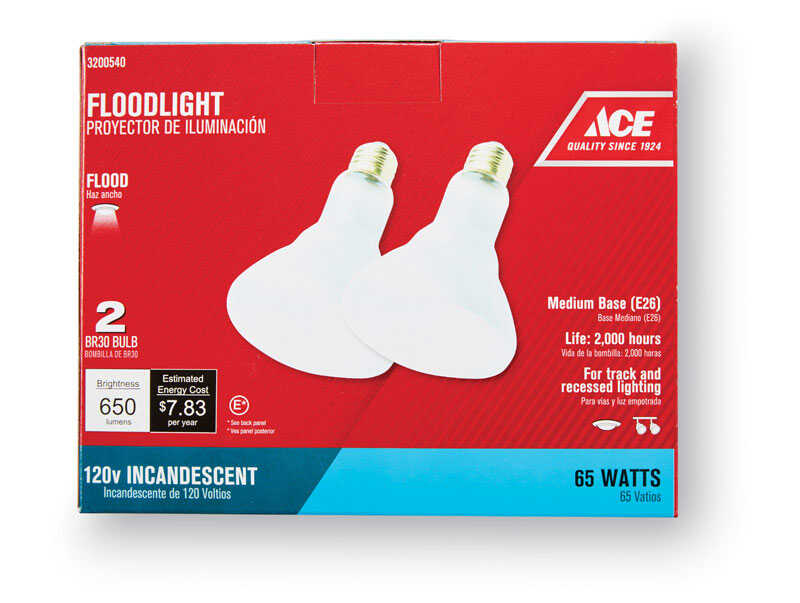 Ace  65 watts BR30  Floodlight  Incandescent Light Bulb  650 lumens Soft White  2 pk