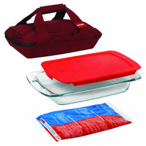 Pyrex  9 in. W x 13 in. L Portable 4-Piece Dish Set  Clear/Red