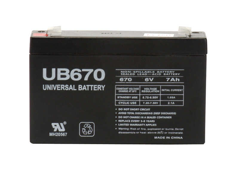 Universal Power Group  UB670  Sealed 7 amps Lead Acid Automotive Battery