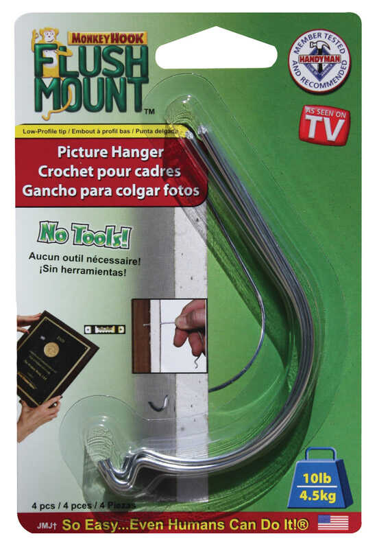 Monkey Hook  Galvanized  Steel  Flush-Mount  10 lb. 4 pk Picture Hanger