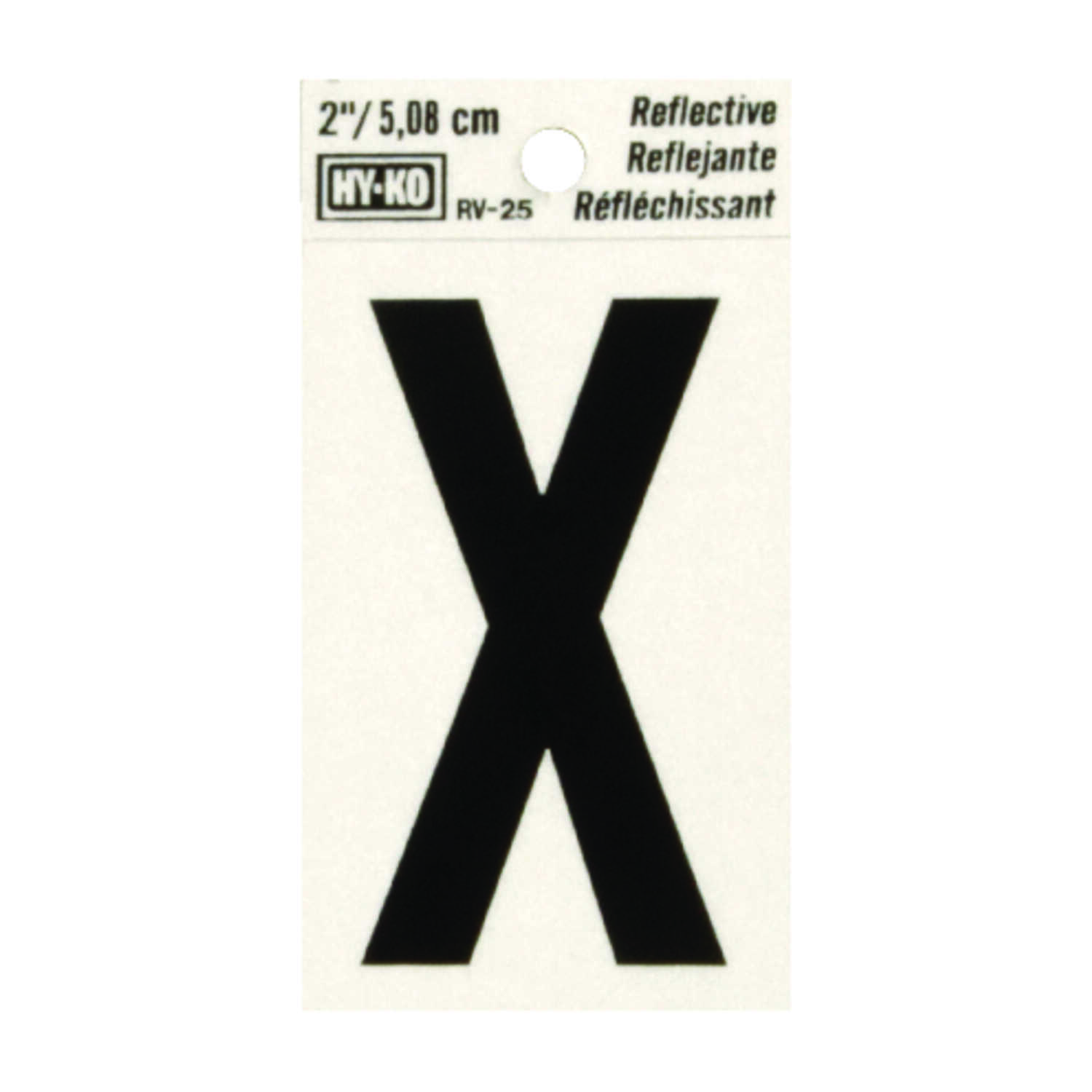 Hy-Ko  2 in. Black  X  Letter  Vinyl  Self-Adhesive  Reflective