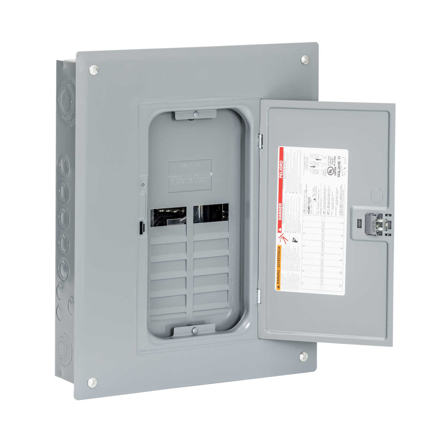 Square D  HomeLine  125 amps 120/240 volt 8 space 16 circuits Wall Mount  Main Lug Load Center