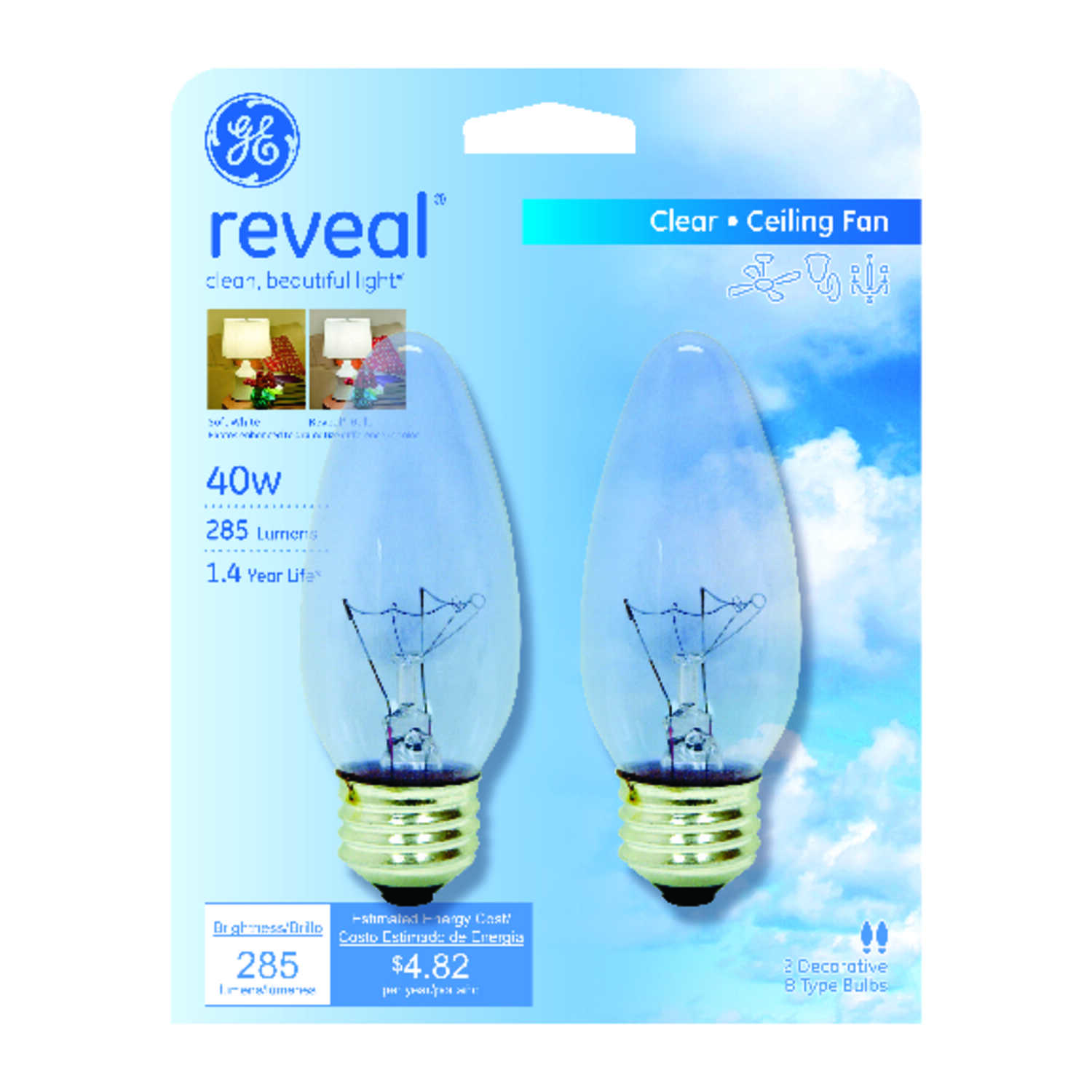 GE  reveal  40 watts B13  Incandescent Bulb  285 lumens Soft White  Decorative  2 pk