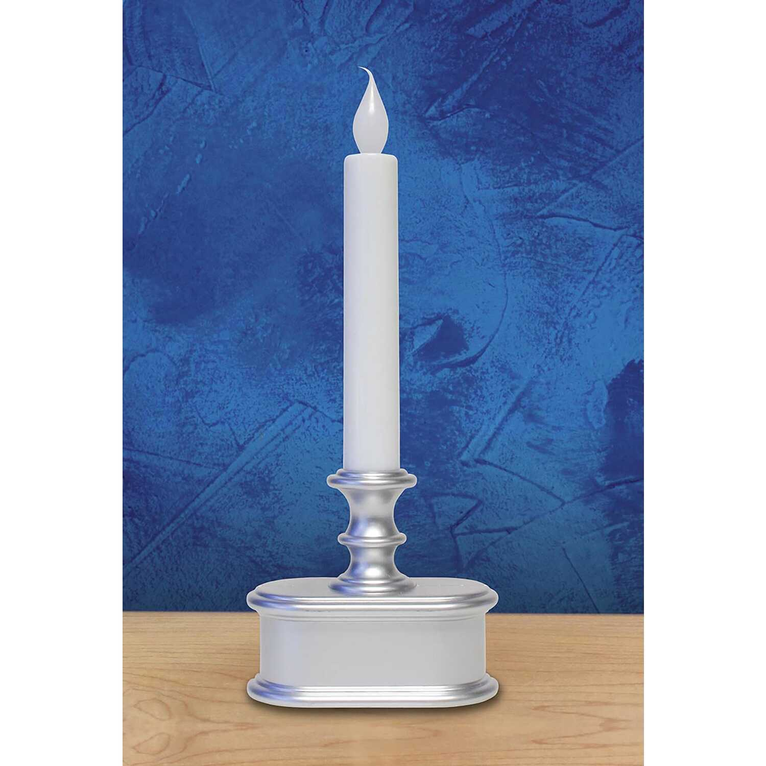 Celebrations  No Scent Brushed Silver  Auto Sensor  Candle  9 in. H
