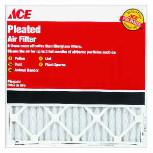 Ace  16 in. W x 20 in. H x 1 in. D Pleated  Pleated Air Filter