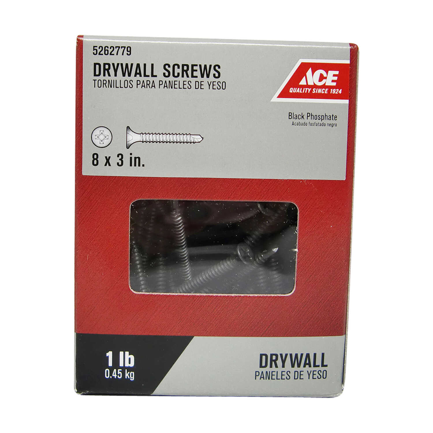 Ace  No. 8   x 3 in. L Phillips  Black Phosphate  Drywall Screws  1 lb. 86 pk